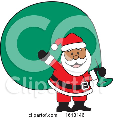 Clipart of a Happy Black Santa Clause Carrying a Giant Sack - Royalty Free Vector Illustration by Johnny Sajem