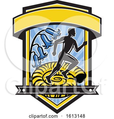 Marathon Runner over an Ammonite with Bluebells by patrimonio
