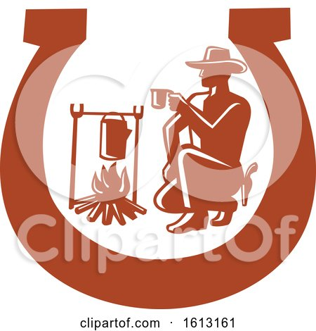 Cowboy Drinking Coffee Beside Campfire Set Inside Horseshoe by patrimonio