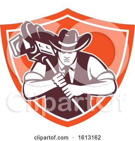 Cowboy-cameraman-bow-vintage-movie-camera-RETRO-for Making SHIELD by patrimonio