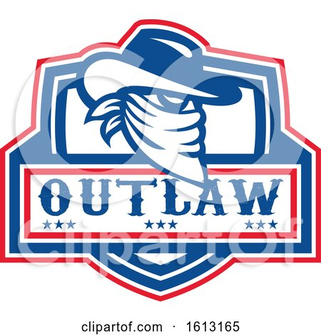 Head of a Cowboy Outlaw or Bandit with Covered Face over Text by patrimonio