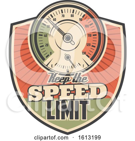 Clipart of a Retro Styled Keep the Speed Limit Automotive Design - Royalty Free Vector Illustration by Vector Tradition SM