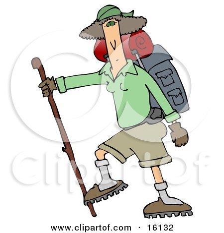 Slender And Fit Woman Using A Hiking Stick And Carrying Camping Gear While Tackling A Tough Trail Clipart Illustration by djart