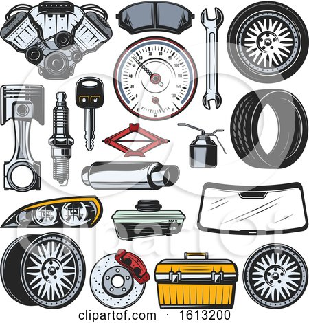 Clipart of Automotive Designs - Royalty Free Vector Illustration by Vector Tradition SM