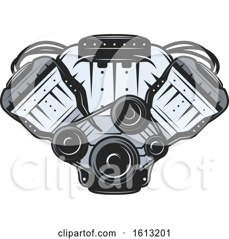 Clipart of a Car Engine Automotive Design - Royalty Free Vector Illustration by Vector Tradition SM