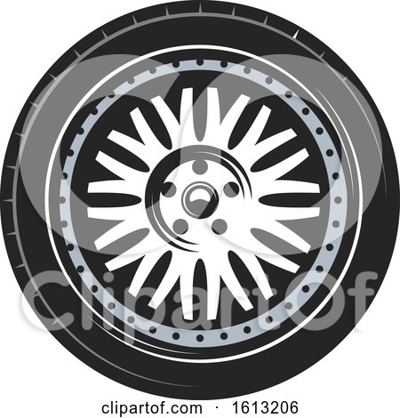 Clipart of a Tire Automotive Design - Royalty Free Vector Illustration by Vector Tradition SM