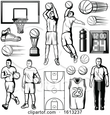 Clipart of Black and White Basketball Designs - Royalty Free Vector Illustration by Vector Tradition SM