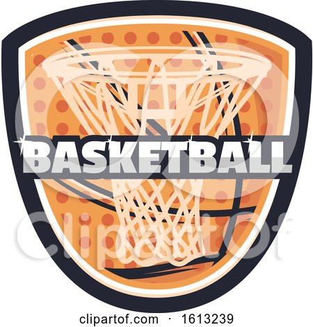 Clipart of a Basketball Shield Design - Royalty Free Vector Illustration by Vector Tradition SM