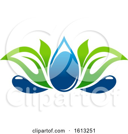 Clipart of a Green and Blue Water Leaf Organic Natural Design - Royalty Free Vector Illustration by Vector Tradition SM