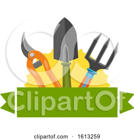 Clipart of a Banner and Gardening Tools - Royalty Free Vector Illustration by Vector Tradition SM