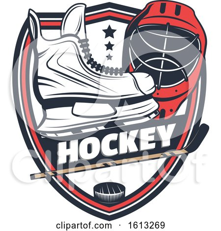 Clipart of a Hockey Sports Shield Design - Royalty Free Vector Illustration by Vector Tradition SM