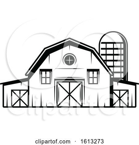 Clipart Of A Black And White Barn And Silo