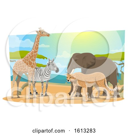 Clipart of Safari Animals - Royalty Free Vector Illustration by Vector Tradition SM