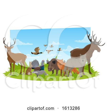 Clipart of Forest Animals - Royalty Free Vector Illustration by Vector Tradition SM