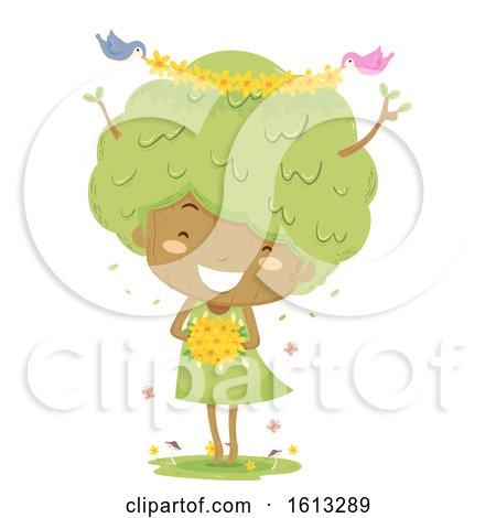 Kid Girl Tree Flowers Birds Illustration by BNP Design Studio