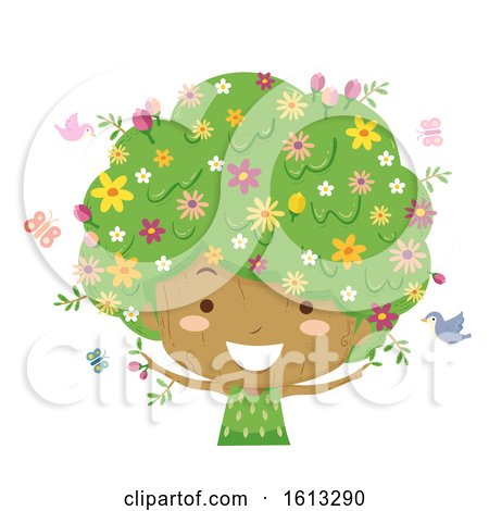 Kid Girl Tree Season Spring Illustration by BNP Design Studio