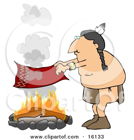 Male Native American Indian Flapping A Blanket Above A Fire To Make A Smoke Signal  Posters, Art Prints