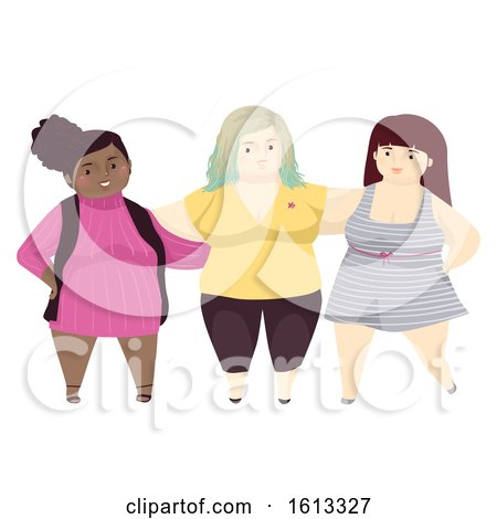 Girls Fat Positivity Friends Illustration by BNP Design Studio