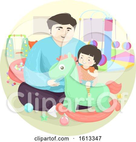 Dad Kid Girl Indoor Horse Rocker Illustration by BNP Design Studio