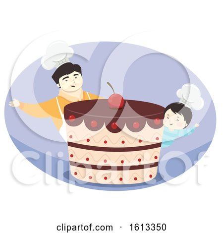 Kid Boy Father Cake Illustration by BNP Design Studio