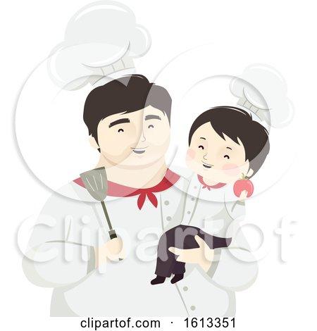 Kid Boy Father Chef Illustration by BNP Design Studio