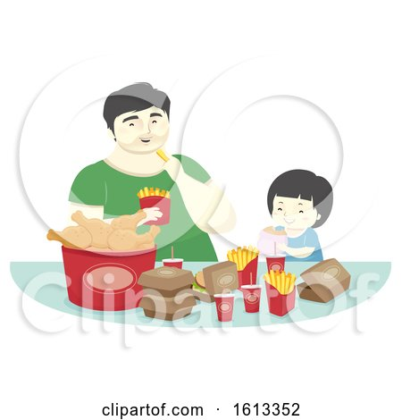 Kid Boy Father Fast Food Dinner Illustration by BNP Design Studio