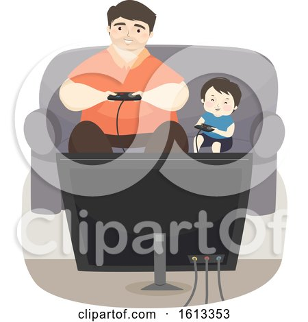 Kid Boy Father Play Video Games Illustration by BNP Design Studio