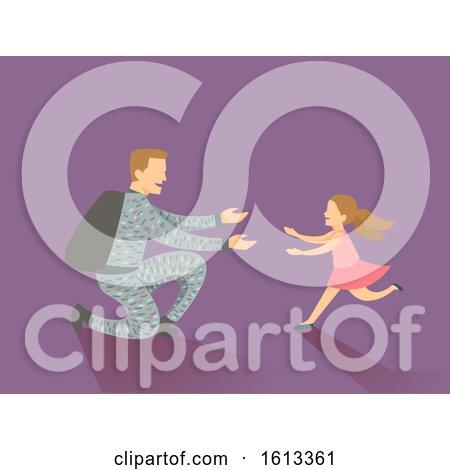 Dad Kid Girl Man Soldier Return Home Illustration by BNP Design Studio