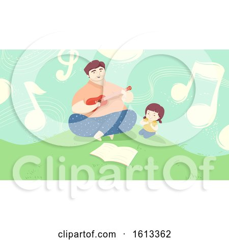 Dad Play Guitar Daughter Outdoors Illustration by BNP Design Studio