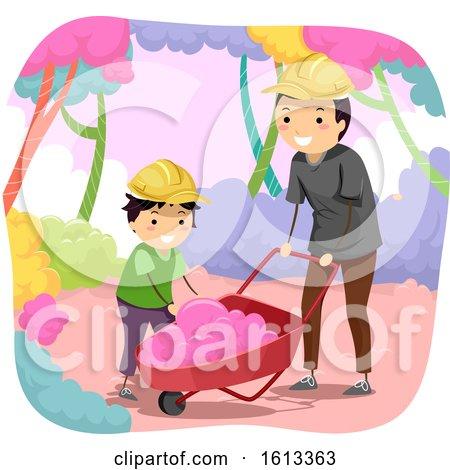Dad Stickman Kid Boy Cotton Candy Illustration by BNP Design Studio
