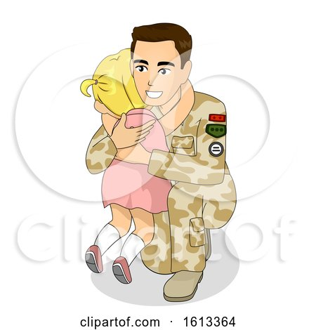 Kid Girl Cry Dad Soldier Illustration by BNP Design Studio