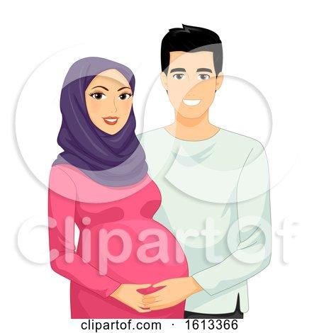 Couple Muslim Pregnant Illustration by BNP Design Studio