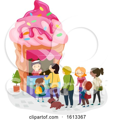 Stickman Ice Cream Shop Line Illustration by BNP Design Studio