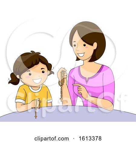 Girl Mom Teaching Kid Girl Pray Rosary by BNP Design Studio