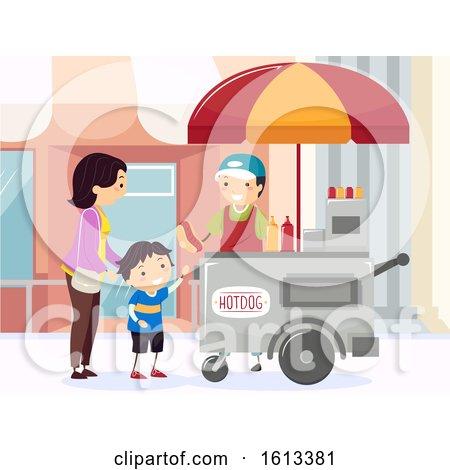 Stickman Mom Kid Boy Buy Hotdog Street by BNP Design Studio