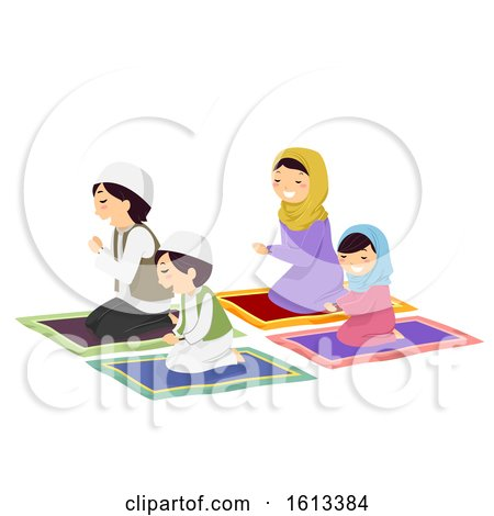 Stickman Family Muslim Pray Illustration by BNP Design Studio
