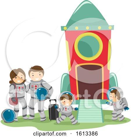 Stickman Family Space Travel Illustration by BNP Design Studio