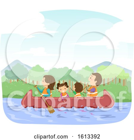 Stickman Family Canoe Illustration by BNP Design Studio