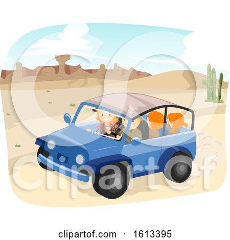 Stickman Family Desert Adventure Ride Illustration by BNP Design Studio