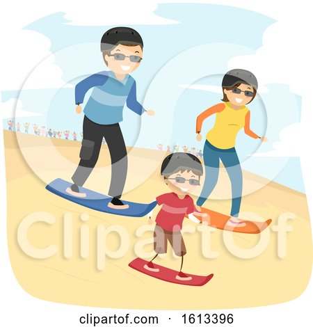 Stickman Family Desert Adventure Sand Boarding by BNP Design Studio