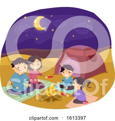 Stickman Family Desert Camping Illustration by BNP Design Studio