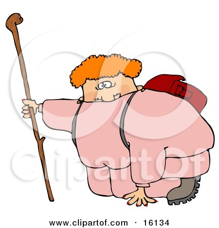 Out Of Shape Chubby Woman In Pink Sweats Carrying A Backpack And Kneeling While Holding Onto Her Hiking Stick To Catch Her Breath While Hiking  Posters, Art Prints