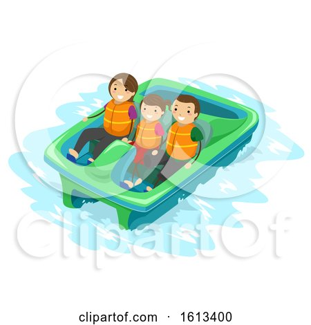 Stickman Family Kid Paddle Boat Illustration by BNP Design Studio