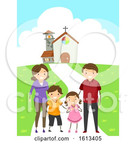 Stickman Family Attend Church Illustration by BNP Design Studio