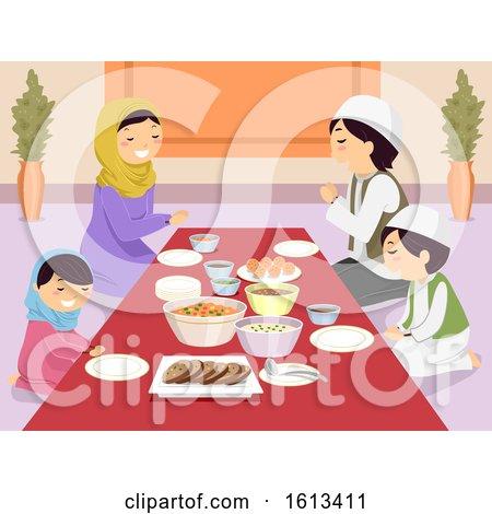 Stickman Family Muslim Pray Before Meal by BNP Design Studio