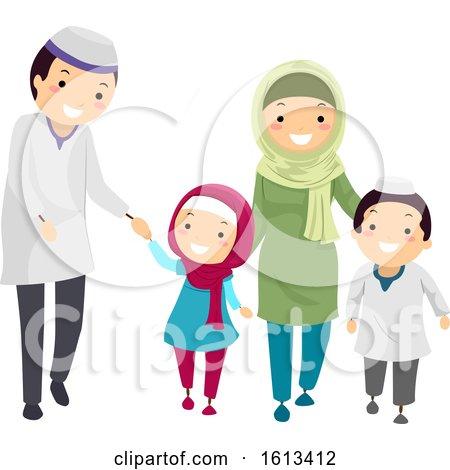 Stickman Family Muslim Walk Illustration by BNP Design Studio