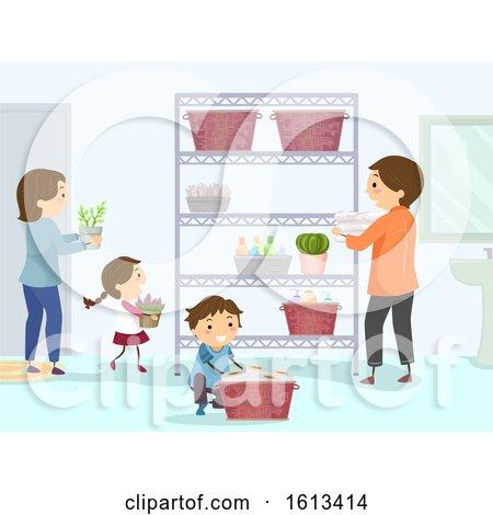 Stickman Family Organize Bathroom Illustration by BNP Design Studio