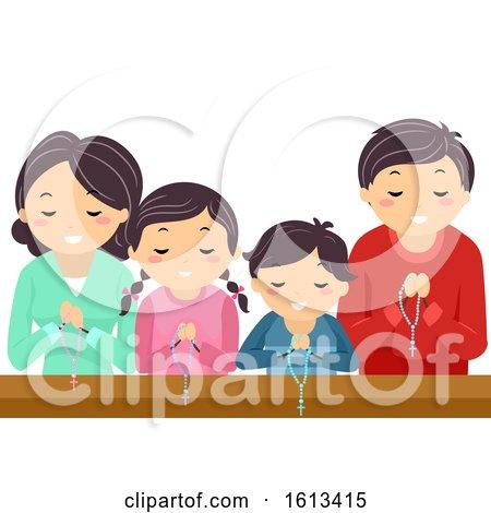Stickman Family Pray Rosary Church Illustration by BNP Design Studio