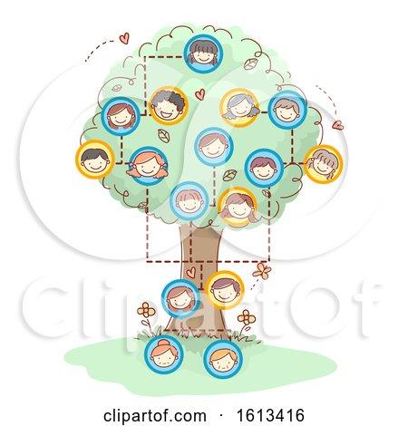 Stickman Family Tree Faces Illustration by BNP Design Studio