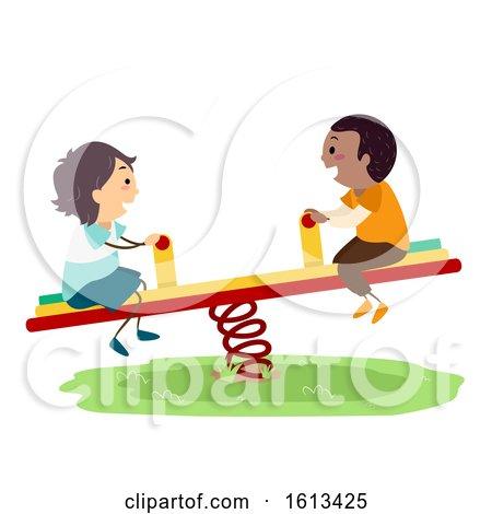 Stickman Kids Boy Seesaw Playground Illustration by BNP Design Studio
